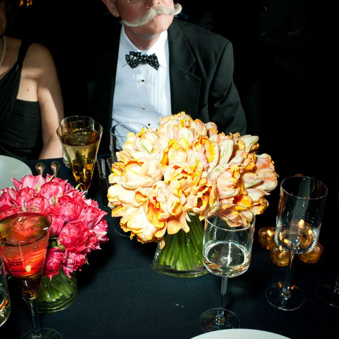 Pink rose wedding centerpiece and yellow parrot tulip wedding centerpiece