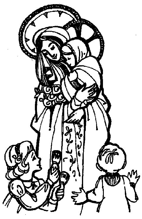 coloring page Mary with Dick and Jane