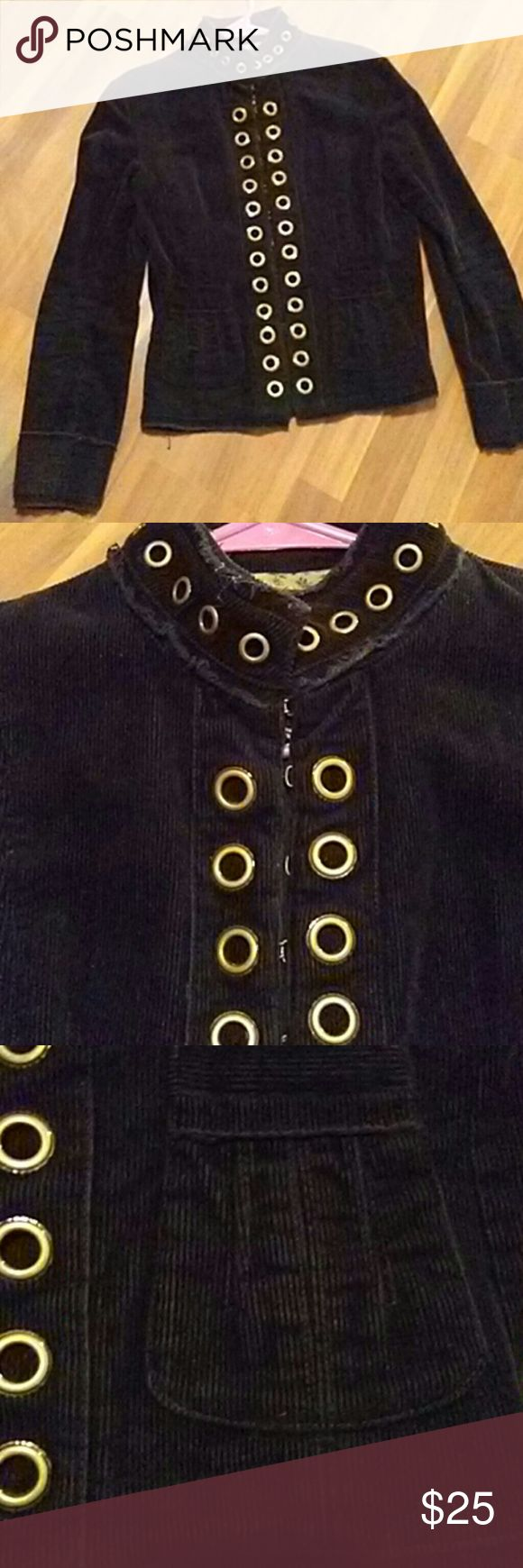 """unique jacket coat this is by far one of the most unique and cool jacket ive ever owned. it reminds me a little of the renaissance period with all the clasps. it is  black chord with copper round """"buttons""""  and clasps. it is missing one hook at the very bottom, pls see all pics. it can be fixed or just ignored,  doesn't make the jacket look stupid or anything.in great condition.no fuzziest, stains, or rips. very cute fabric design were the. wrists are. Sisters Jackets & Coats"""