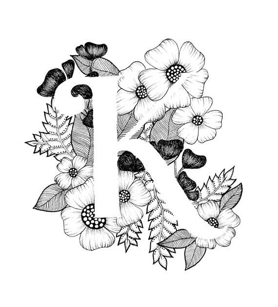 Letter K print - Alphabet, Calligraphy, Typography, Monogram, Flowers - Black and White ink art print