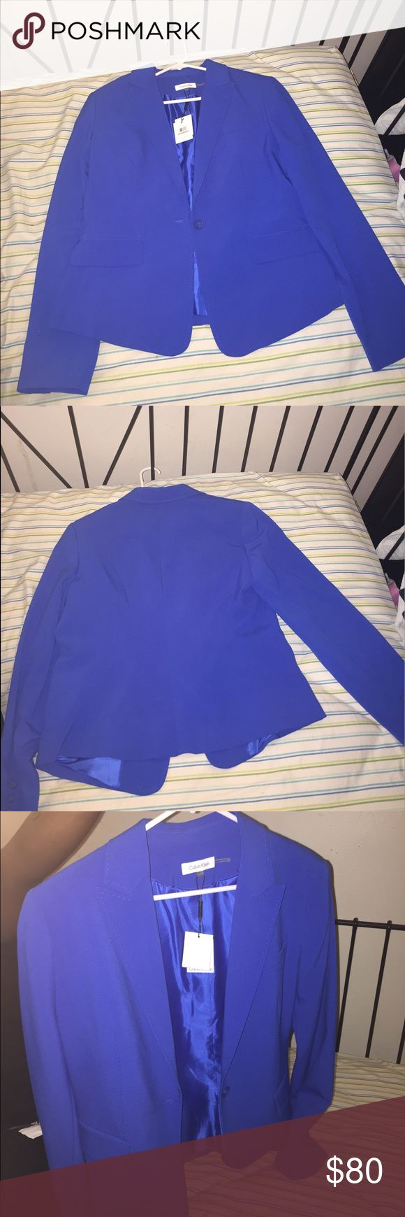 Royal Blue Calvin Klein Blazer BNWT Royal Blue Calvin Klein Blazer. Sat on the hanger for the last 3 years. She seriously needs a good home for someone to rock her. Size 12. Calvin Klein Jackets & Coats Blazers
