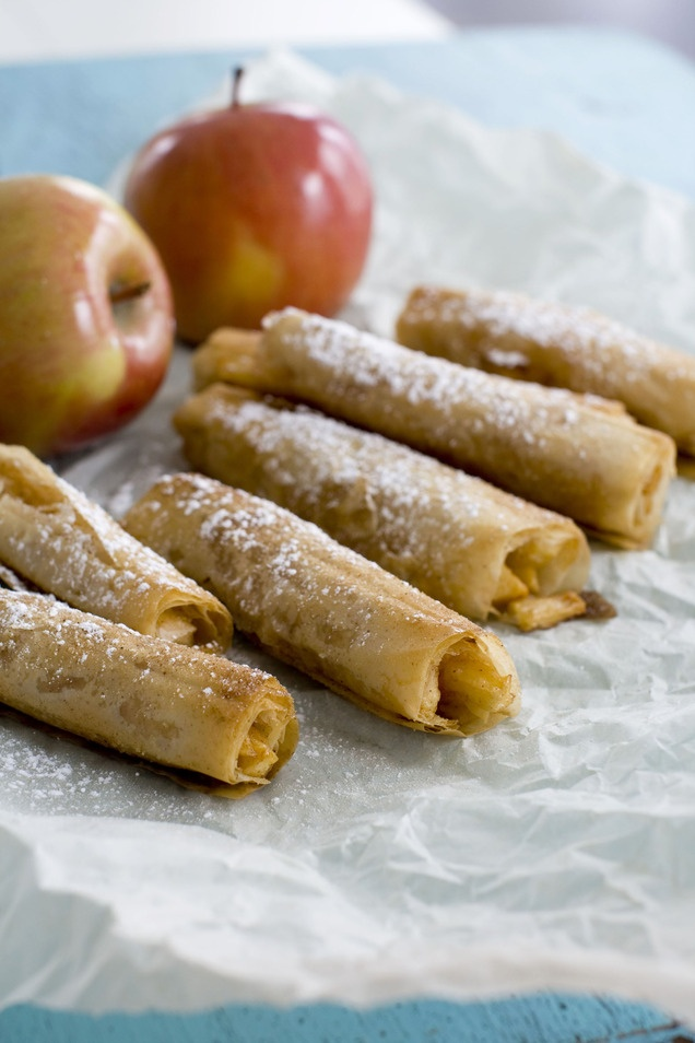 Phyllo dough helps give an all-American apple pie a lighter twist. (AP Photo/Matthew Mead): Sweet, Recipe, Food, Apple Phyllo, Apples, Phyllo Cigars, Dessert, Apple Pies