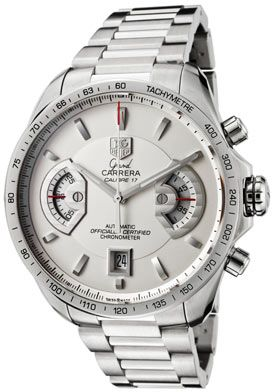 Tag Heuer Men's Grand Carrera Automatic Chronograph Silver Dial Stainless Steel
