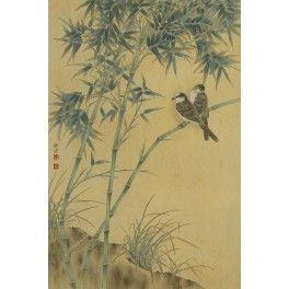Tapisserie asiatique format portrait - Les bambous et les oiseaux aspect ancien