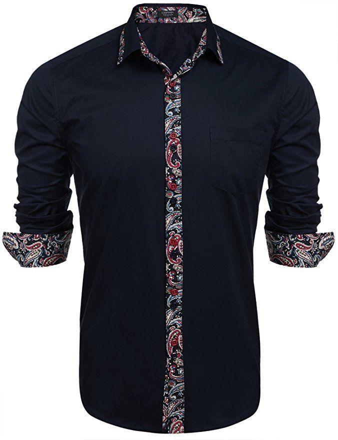 31ebf9c0438 Coofandy Men  s Casual Button Down Shirt Long Sleeve Print Patchwork  Fashion Dress Shirts