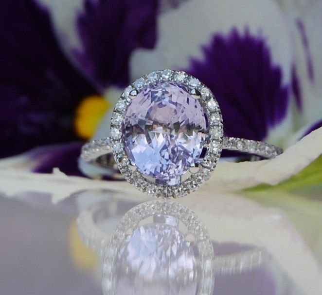 resereved - 3ct Lavender violet oval color change sapphire ring diamond ring engagement ring-2nd payment. $1,000.00, via Etsy.