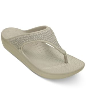 Crocs Women's Sloane Diamante Flip-Flops - Silver 5
