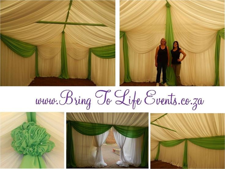 Green and white marquee draping