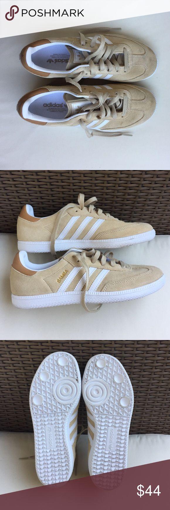 Like New Adidas Samba Sneaker - size 5 Like New! Worn once. Adidas Samba Sneakers. Tan, with gold Samba lettering. Size 5 Men's (6.5/7 Women's) Adidas Shoes Sneakers