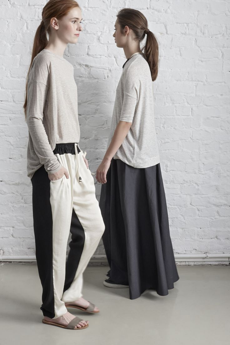 on the left: TOP JEDON // TROUSERS NOLERO  on the right: TOP JEDO // SKIRT NOMA