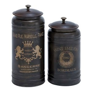 Benzara - 2-Piece Charming French Canisters - Kitchen Canisters And Jars