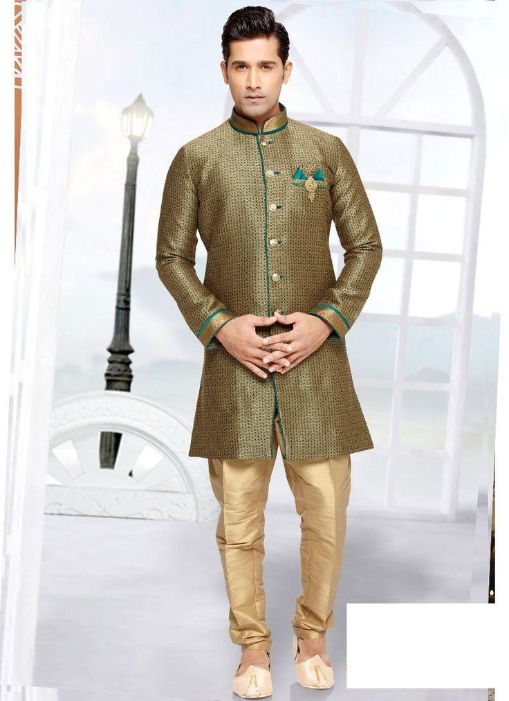 Shop Online Green Beige Brocade Art Silk #MensSherwani @Chennaistore.com