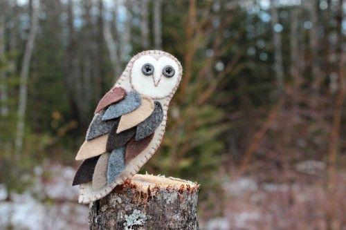 Feathery Barn Owl Felt Ornament