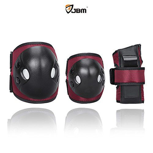 Kids' Cycling Protective Gear - JBM Child Kids Bike Cycling Bicycle Riding Protective Gear Set Knee and Elbow Pads with Wrist Guards Multisports Rollerblading Skating Basketball BMX Nylon Cloth Red Brown Childkids *** You can find more details by visiting the image link.