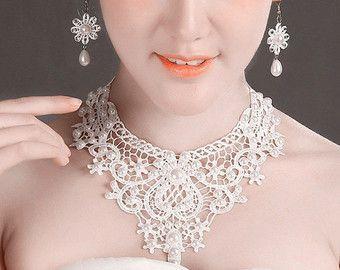 pizzo bianco collana orecchini di perle - gioielli da sposa set - collana girocollo di nozze Bavaglino grande - vittoriano vintage collana di perle