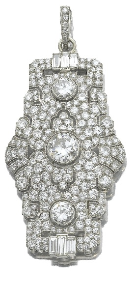DIAMOND BROOCH/PENDANT, CIRCA 1950