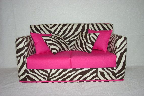 Doll Sofa - Zebra Print, Black, White , Hot Pink -  Modern Handmade 18 inch American Girl Doll Furniture