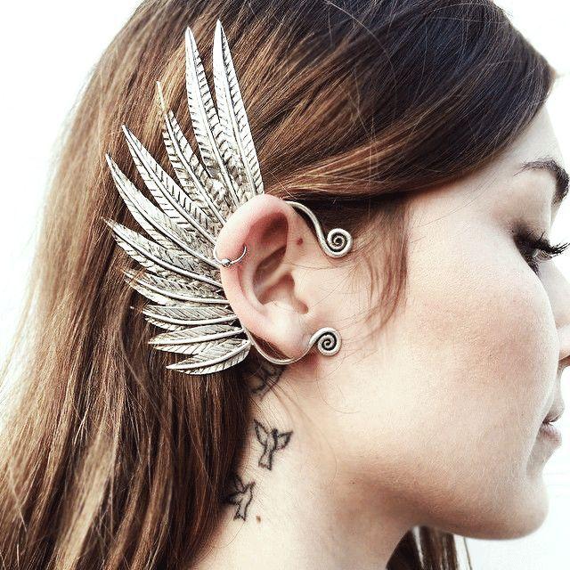 Pegasus Ear Cuff #NBJ #NatalieBJewelry #FestivalFashion | feathers earring ear wear jewelry | wing winged angel greek style ear piece |external ear wear | fantasy jewelry fairy angelic #wingEarring