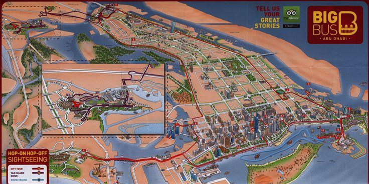 https://flic.kr/p/F31meP | Big Bus Abu Dhabi; 2015_2, illustrated map, UAE | tourism travel brochure | by worldtravellib World Travel library