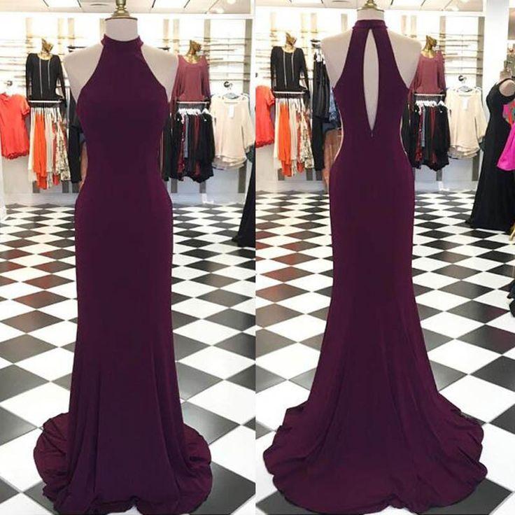 Simple Grape Prom Dress - Jewel Sleeveless Sweep Train Open Back