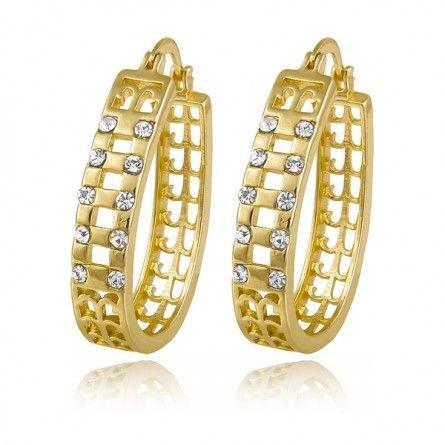 Ekstrawagancki symetryczny komplet pozłacanych kolczyków z błyszczącymi kryształkami to idealna propozycja do eleganckiej sukienki.