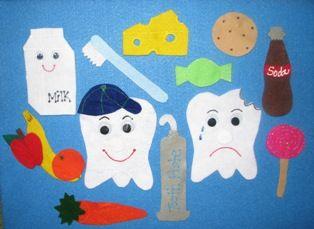 Dental Care Felt Board. Freddy Has a Hole on his Head