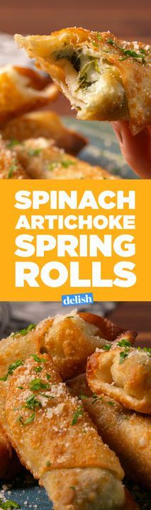 You're gonna wish Spinach & Artichoke Spring Rolls were on every takeout menu. Get the recipe from Delish.com.