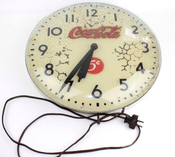 Vintage COCA-COLA LIGHT UP ROUND BUBBLE GLASS CLOCK! For Repair, Coke
