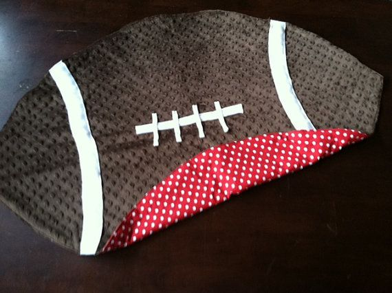 Football Baby Blanket Fleece Red and White by CuddleBugsDesign, $40.00