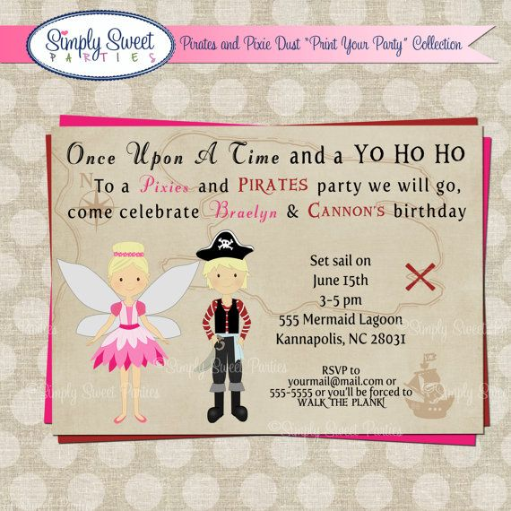 pirate and pixie fairy birthday party diy printable pdf invitation multiple color schemes and hair color of choice