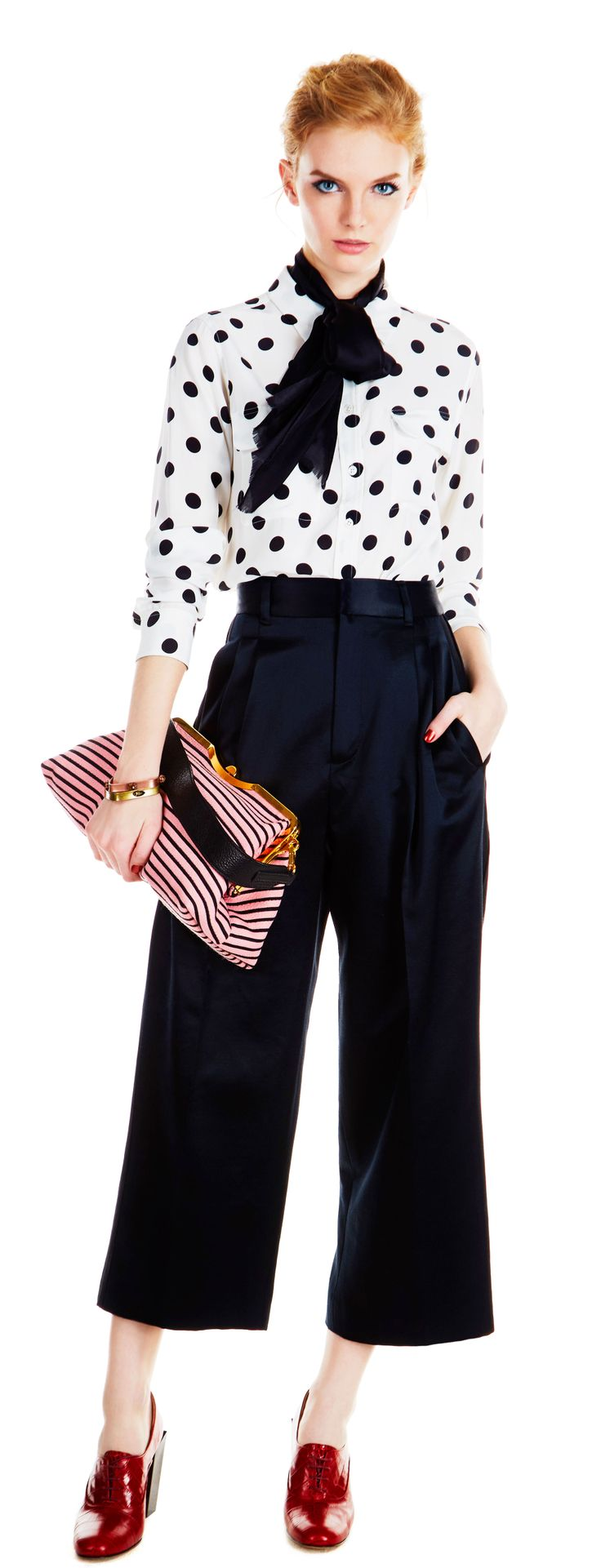 Mix clashing prints, like polka dots and stripes.  Equipment Slim Signature Blouse ($248) in Nature White Dot Print, Marc by Marc Jacobs Silk Wool Satin Cropped Pants ($368, 323.866.3562) in Black,  Echo Design Solid Silk Oblong Scarf ($38) in Black ,  Capwell+Co Mixed Metal and Stone Square Bangle Set ($32), Miu Miu Jacquard and Leather Tote ($1,790) in Pink and Black