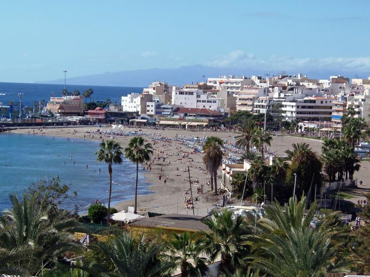 View of the beach at Los Cristianos, Tenerife