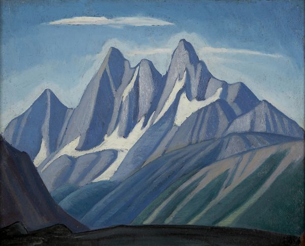 """Goodsir Peaks, Rocky Mountains,"" Lawren Harris, ca. 1924-1929, oil on board, 12 x 13 7/8"", Art Gallery of Hamilton."