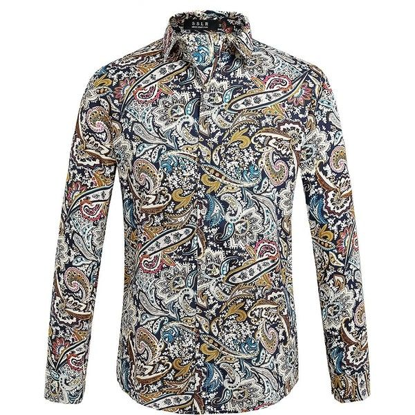 SSLR Men's Paisley Casual Button Down Long Sleeve Shirt at Amazon... ($26) ❤ liked on Polyvore featuring men's fashion, men's clothing, men's shirts, men's casual shirts, mens button up shirts, mens paisley shirt, mens longsleeve shirts, mens casual button up shirts and mens long sleeve button up shirts