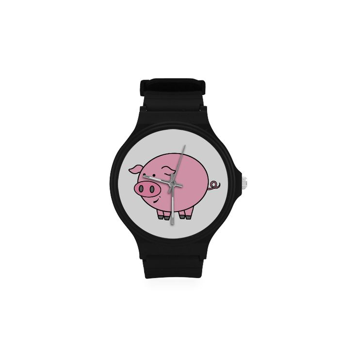 Fat Pig Unisex Round Silicone Watch