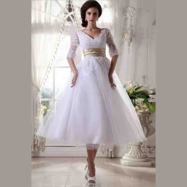 Cheap Tea Length Wedding Dresses Buy Quality Beach Bridal Dress Directly From China With Sleeves Suppliers 2015 White Lace