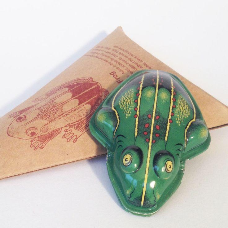 Klik klak kikker metaal   Retro speelgoed   Beaudeco-art