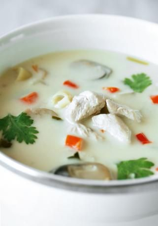 Tom ka kai   http://www.food.com/recipe/tom-ka-kai-thai-coconut-chicken-soup-303281/photo