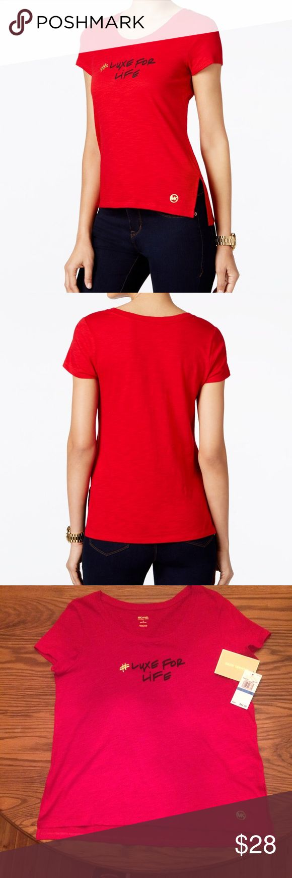 Michael Kors #Luxe For Life Graphic T-Shirt Cotton. Crew neckline. Pullover styling. Graphic #Luxe for Life print on front. Hits at hip. Michael Kors Tops Tees - Short Sleeve