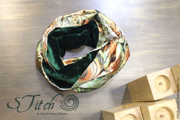 """Купить Шарф-снуд """"Мельпомена"""" - тёмно-зелёный, оранжевый, шарф снуд из бархата, двухцветный снуд"""