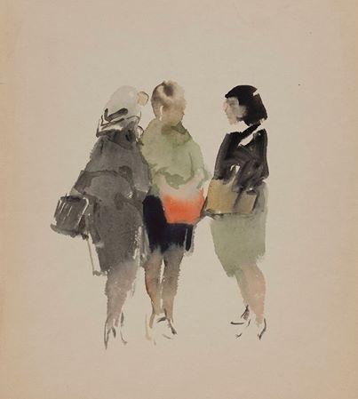 """""""Подруги"""", акварель, бумага около 1960"""