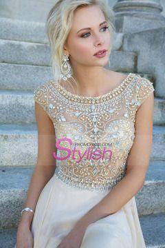 2014 Elegant Prom Dresses A-Line Scoop Beaded Bodice Floor-Length Chiffon Zipper Back $ 159.99 STPPGEEZGB - StylishPromDress.com