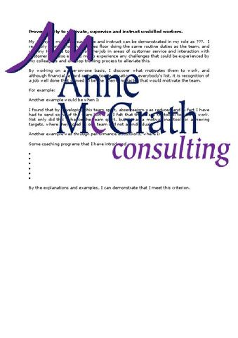 Management - Proven ability to motivate and instruct unskilled workers – Professional Resumes @ Anne McGrath Consulting