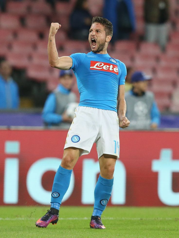 Dries Mertens of Napoli celebrates after scoring his team's equalizing goal during the UEFA Champions League match between SSC Napoli and Besiktas JK at Stadio San Paolo on October 19, 2016 in Naples, .