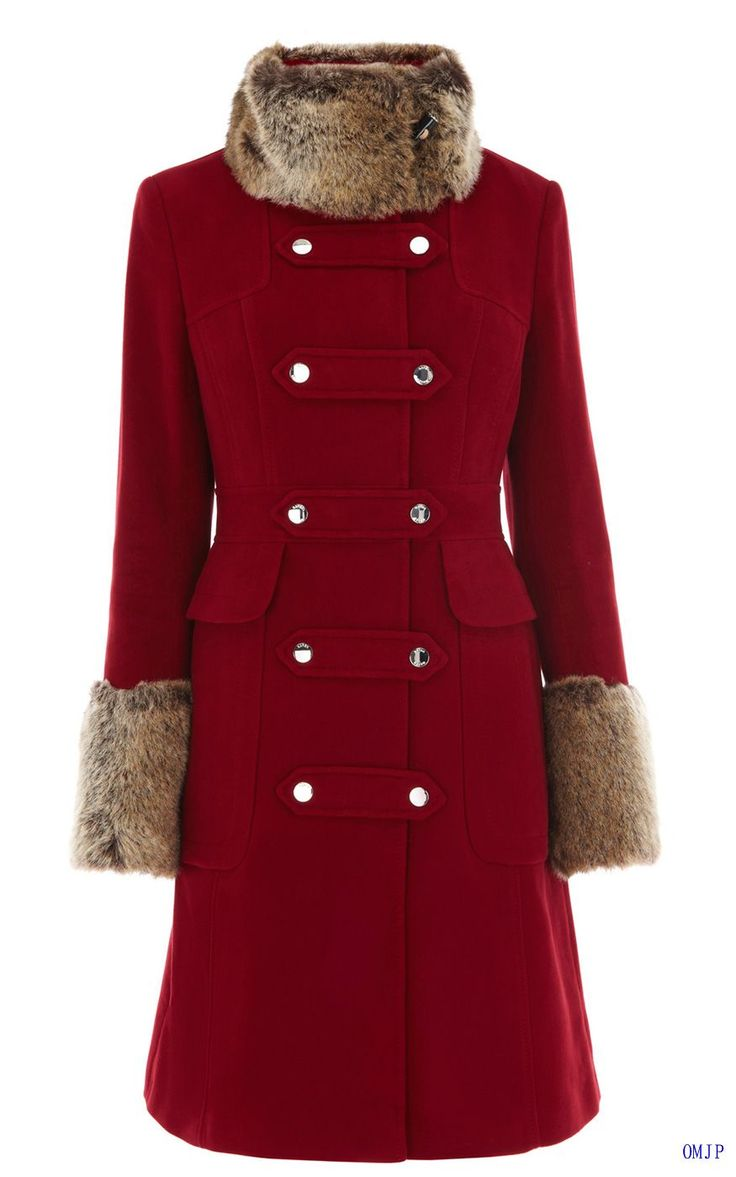 Karen Millen CP020 Red Moleskin Coat With Faux Fur 70% off, amazing price in this site
