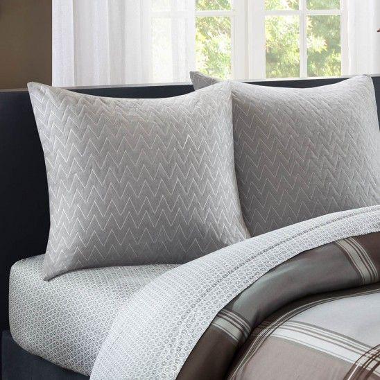 Woven Plaid Bedding - Euro Pillows