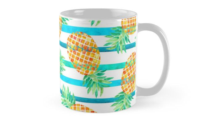 Watercolor Pineapples and stripes. Watercolor and digital. • Also buy this artwork on home decor, apparel, stickers, and more. Pineapple watercolor pattern. Inspired by summer and nature. @redbubble #pineapple #fruit #orange #floral #botanical #fashion #watercolor #redbubble #mug #coffee #tea