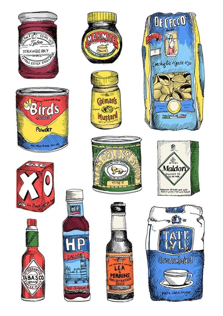 May Van Millingen Illustration Portfolio - canned and dry goods food illustrations