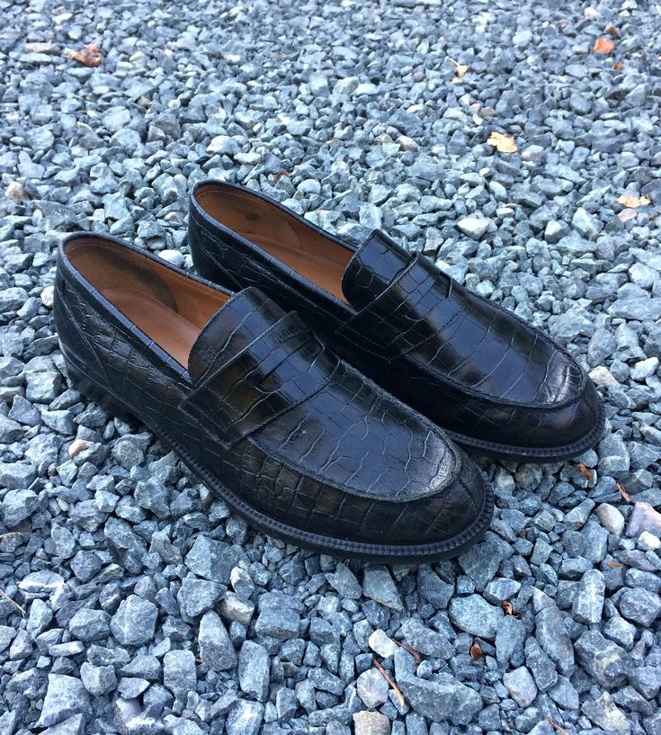 1990's Ralph Lauren Black Leather Penny Loafers - Size 8