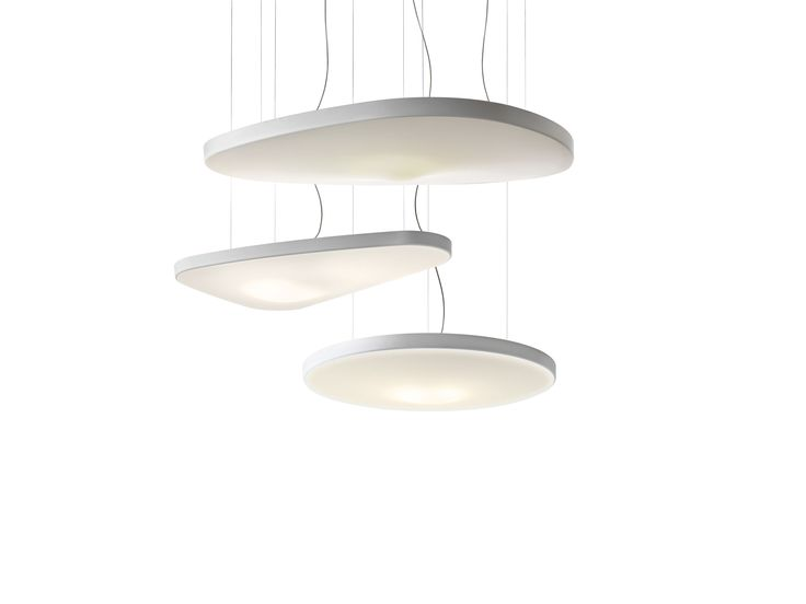 Petale by luceplan a suspension lamp with an organic form that conceals the magic of silence the body consists of a sound absorbing panel covered in